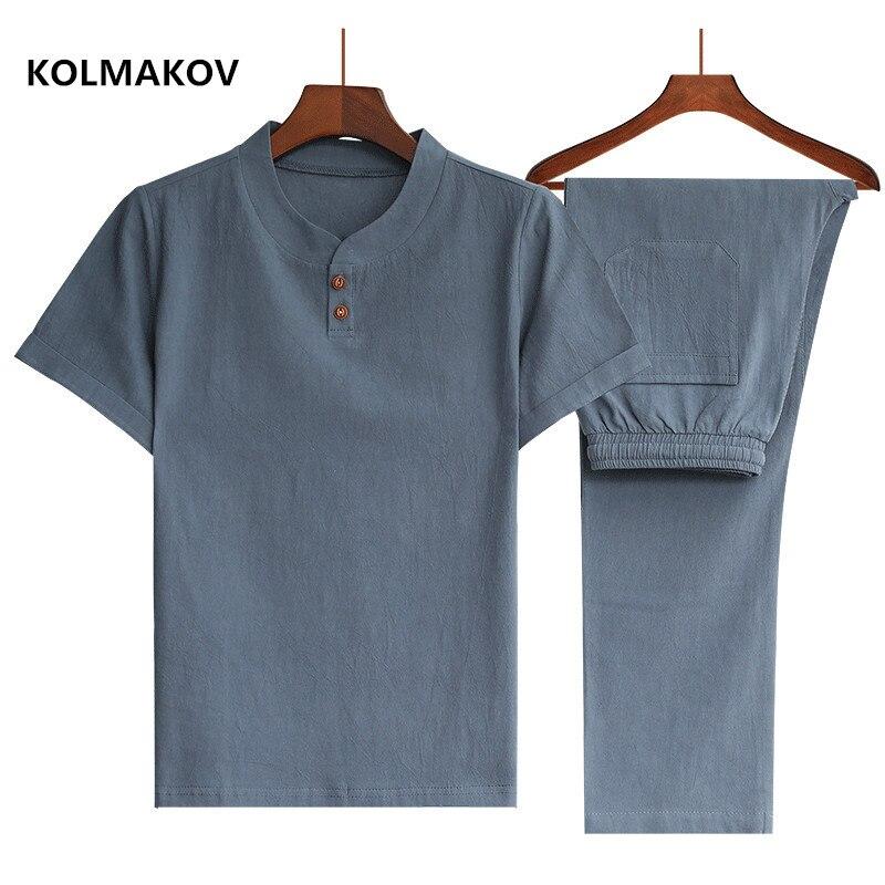 (Shirt + Trousers) 2020 Summer Men Shirt Man Cotton And Linen Shirts Short Sleeve Men's Fashion Casual Shirts Men Size M-5XL