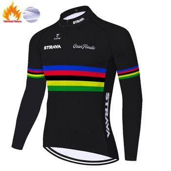 Strava-Camiseta de manga larga de ciclismo para hombre, maillot de ciclismo de...