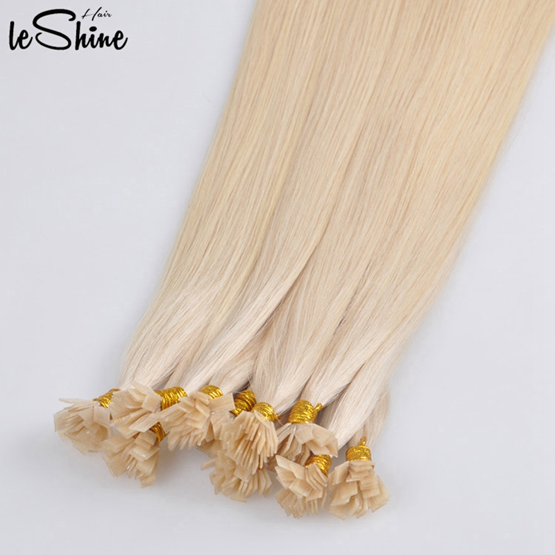 Leshine Flat Tip Hair Extension Human Hair Human Hair Blonde 20inch 50 Strands/Pack Real Remy Hair Keratin Hair Extensions