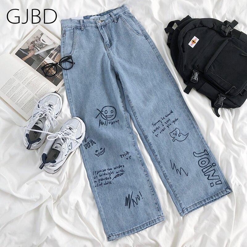 Gjbd indie calças de brim femininas 2021 primavera nova y2k streetwear graffiti calças de cintura alta lazer e menina baggy calças retas para