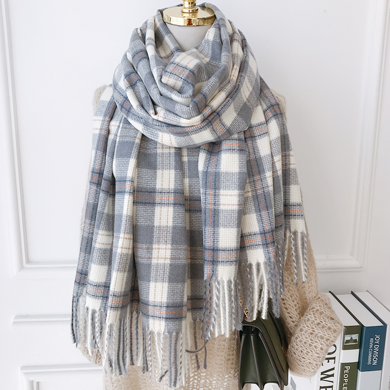Men Vintage Cashmere Silk Feel Long Scarf Soft Warm Faux Wool Wrap Shawl Casual