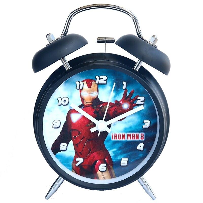 Дисней Железо Человек Капитан Америка Мстители Марвел Мультфильм Дети Студент Будильник Часы Бесшумный Металл Колокольчик Часы