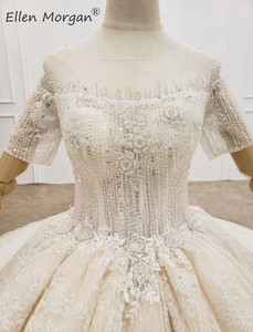Image 5 - יוקרה ארוך שרוולי כדור שמלות חתונה שמלות Sheer צוואר תחרה פניני חרוזים סעודית אלגנטי עבור כלה 2020