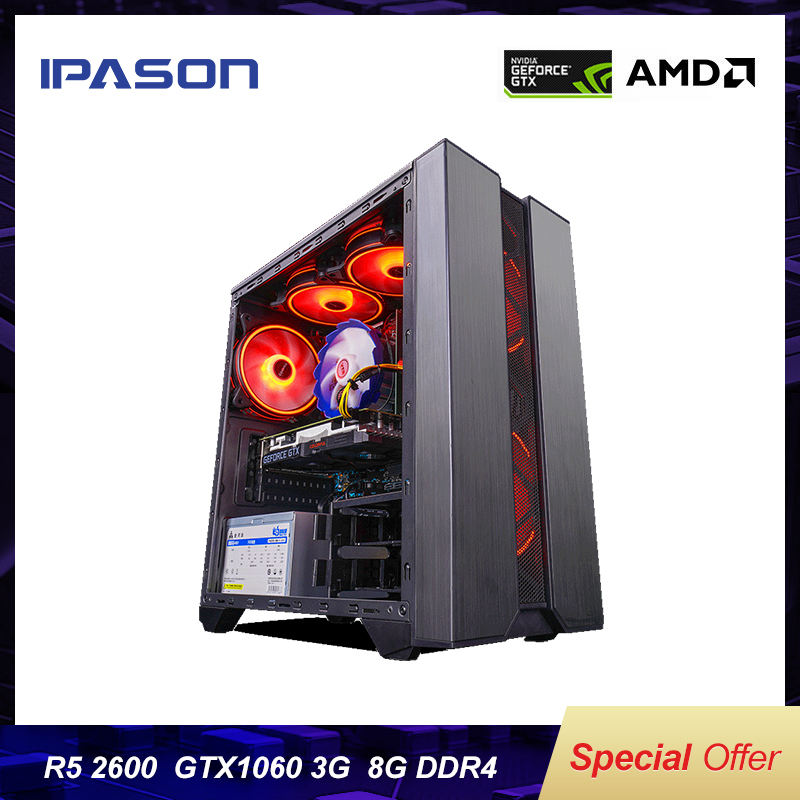 AMD Gaming Computer PC Ryzen5 2600/GTX1060 3G DDR4 8G/16G RAM 256G SSD PUBG/GTA5 High-End Desktop Assembly Machine Complete Set