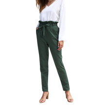 2019 Autumn New Women's Long Pants Elegant Belted Detail Solid High Waist Pants Women Casual Elastic Loose Pencil Pants Oc29 self belted floral peg pants
