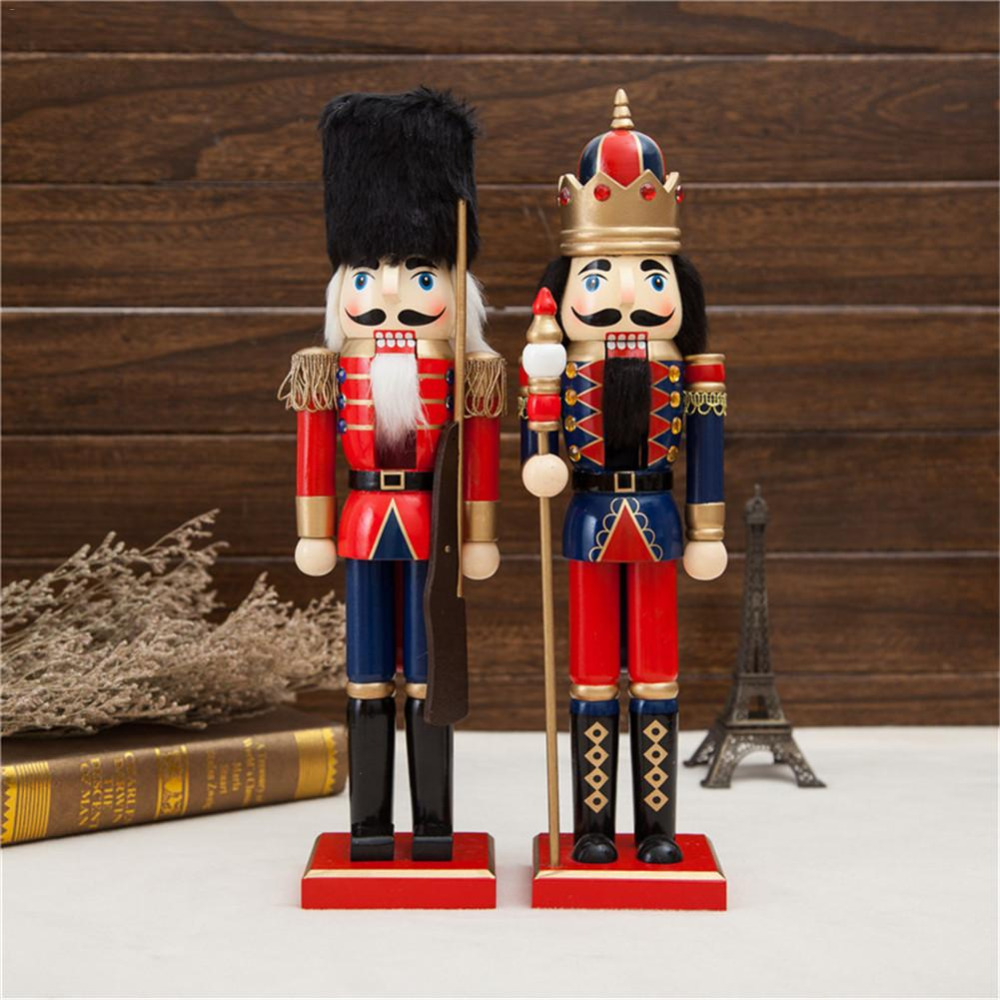 38CM Solid Wood Nutcracker Christmas Decorations For Home Soldiers Gift Set Great Decoration Classic Hand Painting Doll
