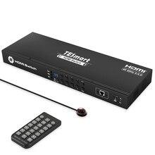 HDMI Interruttore 8x1Console Rack Mount Interruttore USB 2.0 Switch HDMI 8 Porte Condividere con 8 PCs RS232 Porta LAN IR controllo 4K @ 60Hz 8 Porte