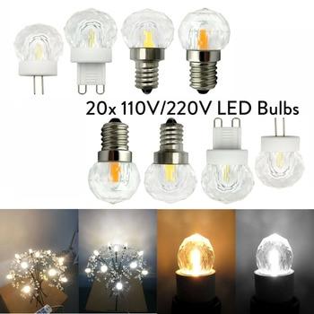 20x Dimmable 110V 220V Mini G4 G9 E12 E14 4W LED K9 Glass Crystal Light Bulbs COB Replace Halogen Chandelier Pendant Light Lamps