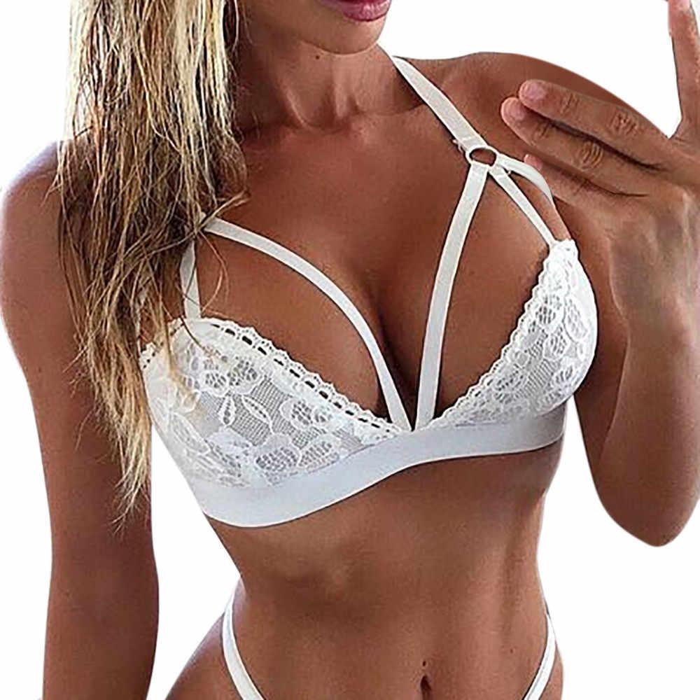 Sagaceホット女性のセクシーなランジェリーコルセットレースベビードール包帯ブラセットgストリングプッシュアップ下着ナイトウェアブラジャー簡単なガーターセット