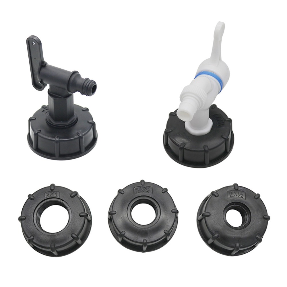 """H5da91f4ac55c4a8eafb8d8ba3ab4b43eV 1/2"""" 3/4"""" 1"""" Female Thread to 60mm Female Thread IBC Tank Connector Valve Faucet Adapter Garden Irrigation Pipe Connection Tools"""