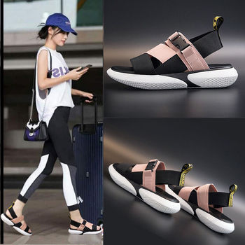Fashion Open Toe Sports Sandals T-shaped Buckle Thick Heel Platform Shoes 2021 Women's Summer Flat Casual Shoes Women's Slippers 1