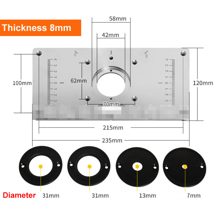 Aluminium Alloy Router Table Insert Plate + 4 Rings For Woodworking Benches Router Plate Trimmer Models Engraving Machine