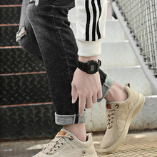 Casual Shoes Loafers Men Sneakers Breathable Genuine-Leather Fashion Autumn Outdoor Lace-Up