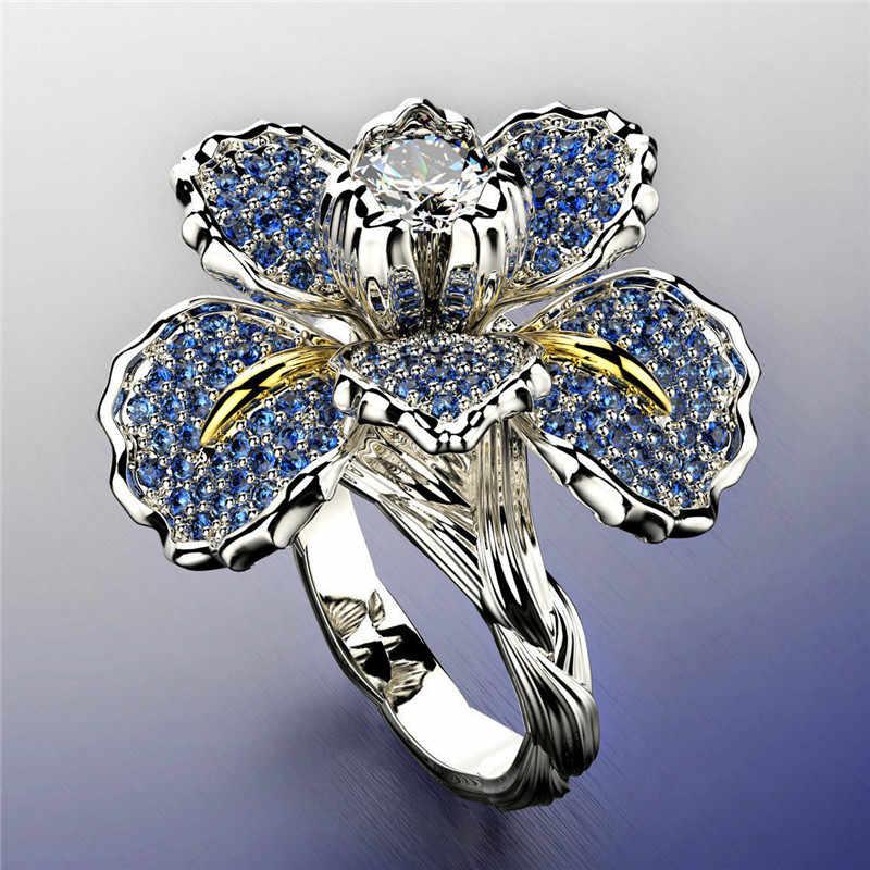 แฟชั่นผู้หญิงดอกไม้ Zircon Love แหวน Charm สีฟ้าคริสตัลหมั้นแหวนเงินชุดแต่งงานแหวน