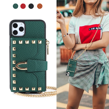 Luxury Rivet PU Leather Crossbody Phone Case for iPhone 11 PRO MAX X XS XR SE2020 8 7 Plus Wallet Card Pocket Shoulder Bag Cover