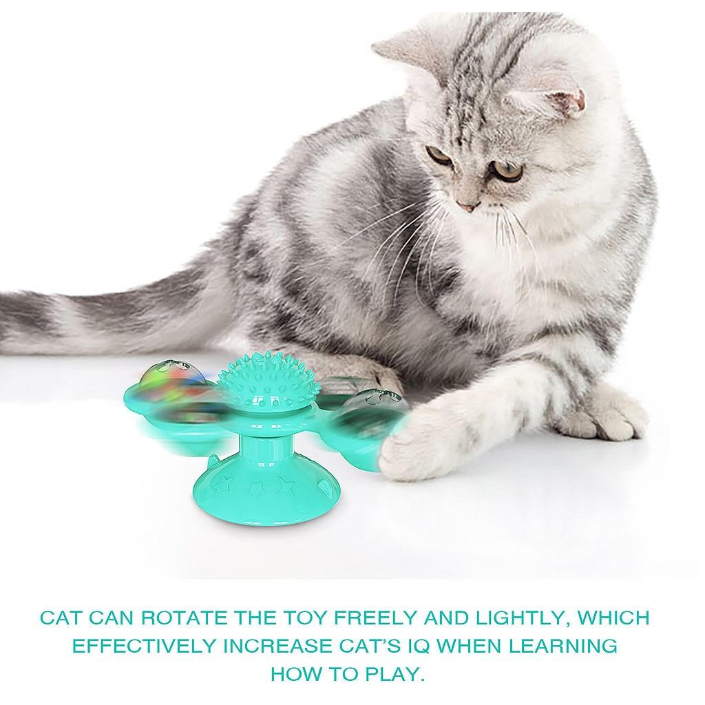 Ветряная мельница, игрушка для кошек, вращающаяся игрушка для домашних животных, Когтеточка, щетка для кошек, удобная для самостоятельного ...