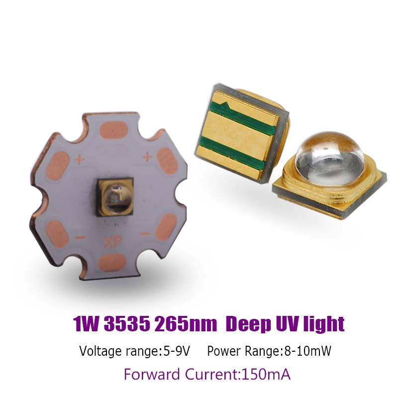 High Power 3535 1W 265nm Deep UV LED CHIP UVC Ultraviolet Sterilization LED Diode 150mA 5-9V
