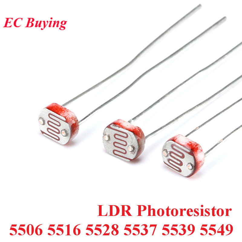 20pcs LDR Photoresistor 5506 5516 5528 5537 5539 5549 Light Dependent Resistor 5MM Photoconductive Resistance For Arduino