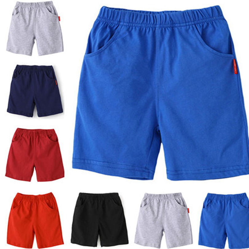 Beach  Boys Shorts Solid Colors Kids Boy Cotton Short Sports Pants Children Elastic Waist Pants Toddler Summer For Baby Clothing