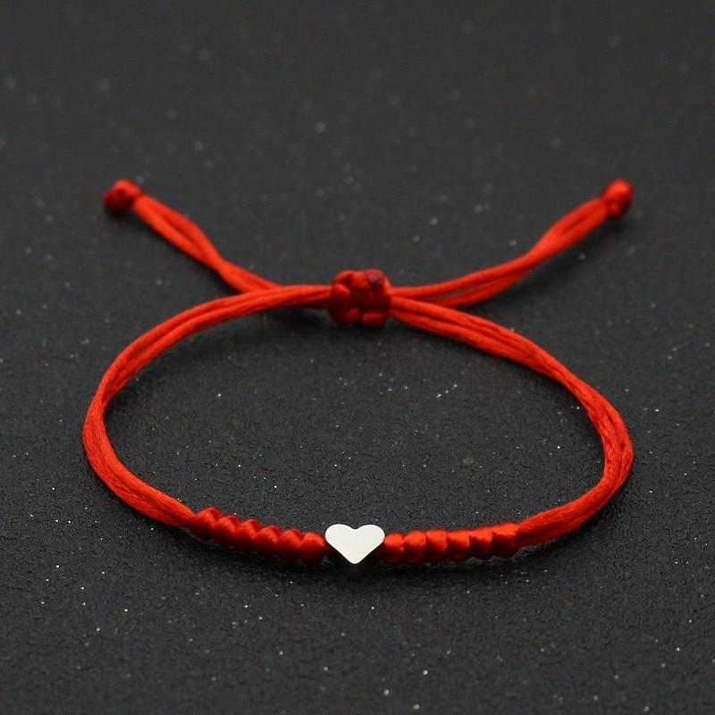 Браслет с подвесками в виде сердца для мужчин и женщин, браслеты дружбы с изображением пожеланий влюбленных, на удачу, с плетеной красной ле...