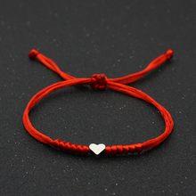 Amor coração charme pulseira mulheres amantes desejo boa sorte vermelho corda trançado ajustável casal pulseiras amizade jóias