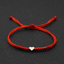 Couple Bracelets Braided Friendship Jewelry Wish Red String Heart Charm Good-Lucky Adjustable