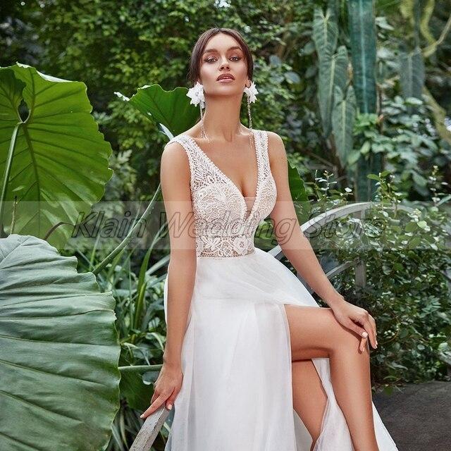 Summer Tulle Boho Slit Wedding Dress 2021 Elegant V-Neck Sleeveless Lace Sweep Train A Line Bridal Gowns Vestidos De Novia 3