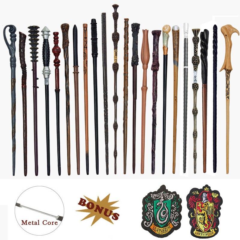 28 rodzajów rdzeń metalowy Potters magiczne różdżki Cosplay Ron Voldemort hermiona magiczna różdżka Harried metka płócienna jako Bonus bez pudełka
