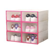 6Pcs Plastic Shoe Box Stackable Foldable Shoe Organizer Drawer Storage Case with Flipping Clear Door Ladies Men 31.5x21.5x12.5cm цена