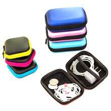 Caso recipiente fone de ouvido caixa de armazenamento colorido fone de ouvido caso saco de armazenamento de viagem para fone de ouvido cabo de dados carregador organizador