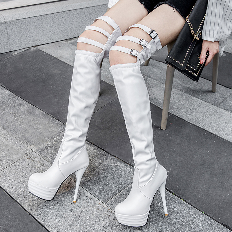 Fashion Super High Novelty Over The Knee Thigh High Boots Pointed Toe Thin Heels Autumn Winter Long Boots Solid Buckle Shoes