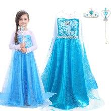 Cartoon princess Queen Elsa costume dress childrens girl summer autumn long sleeved party cosplay