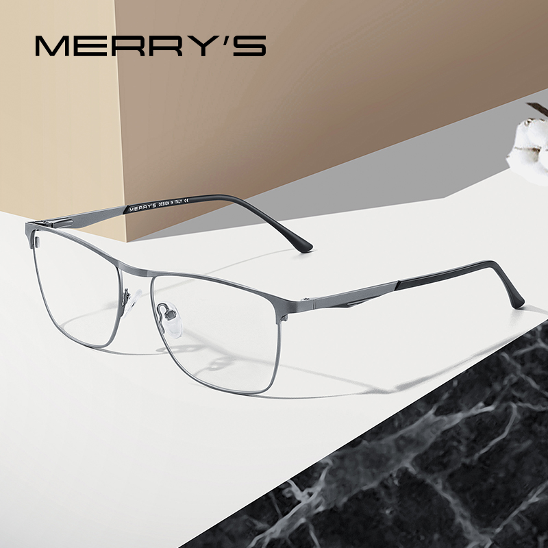 MERRYS DESIGN Men Titanium Alloy Glasses Frame Fashion Male Business Style Ultralight Eye Myopia Prescription Eyeglasses S2061