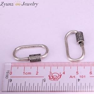 Image 5 - 5 Pcs, Karabijnhaak Antiek Zilver Kleur Connector Sluiting Micro Pave Cz Vintage Sluiting Voor Sieraden Maken