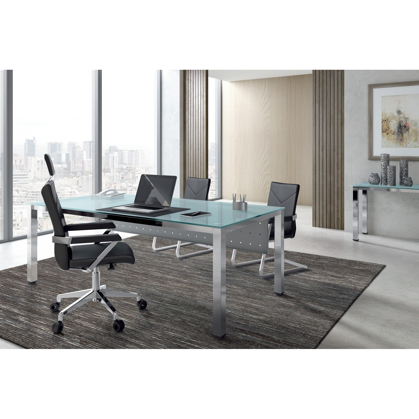 TABLE OFFICE 'S EXECUTIVE SERIES 160X80 ALUMINUM/CRYSTAL