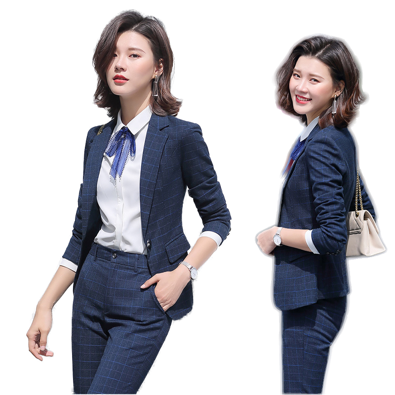 Office Ladies Work Suits Long Sleeve Tuxedo Jacket With Pant Blue Plaid Pant Suit Woman Two 2 Piece Blazer Sets Women Pantsuit