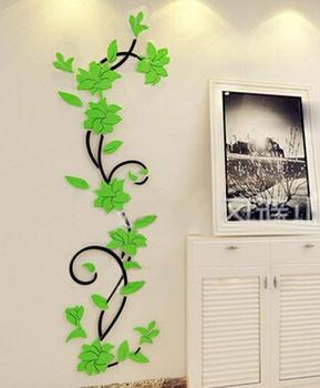 NEW 1PC Wall Stickers Decal Home Decor DIY Vase Flower Crystal Arcylic 3D Stickers For Kids Room 24X80cm Drop Shipping 10