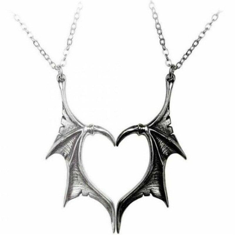 Индивидуальный стиль панк Сердце двойной Цвет крыло ожерелье для мужчин и женщин в винтажном стиле заявление крылом кулон ожерелье для влю...
