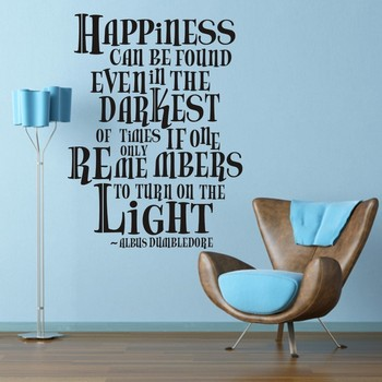Harry Potter Accessories Dumbledore Happiness Can Be Found Wall Typographic Inspirational Wall Sticker Home Art Decal