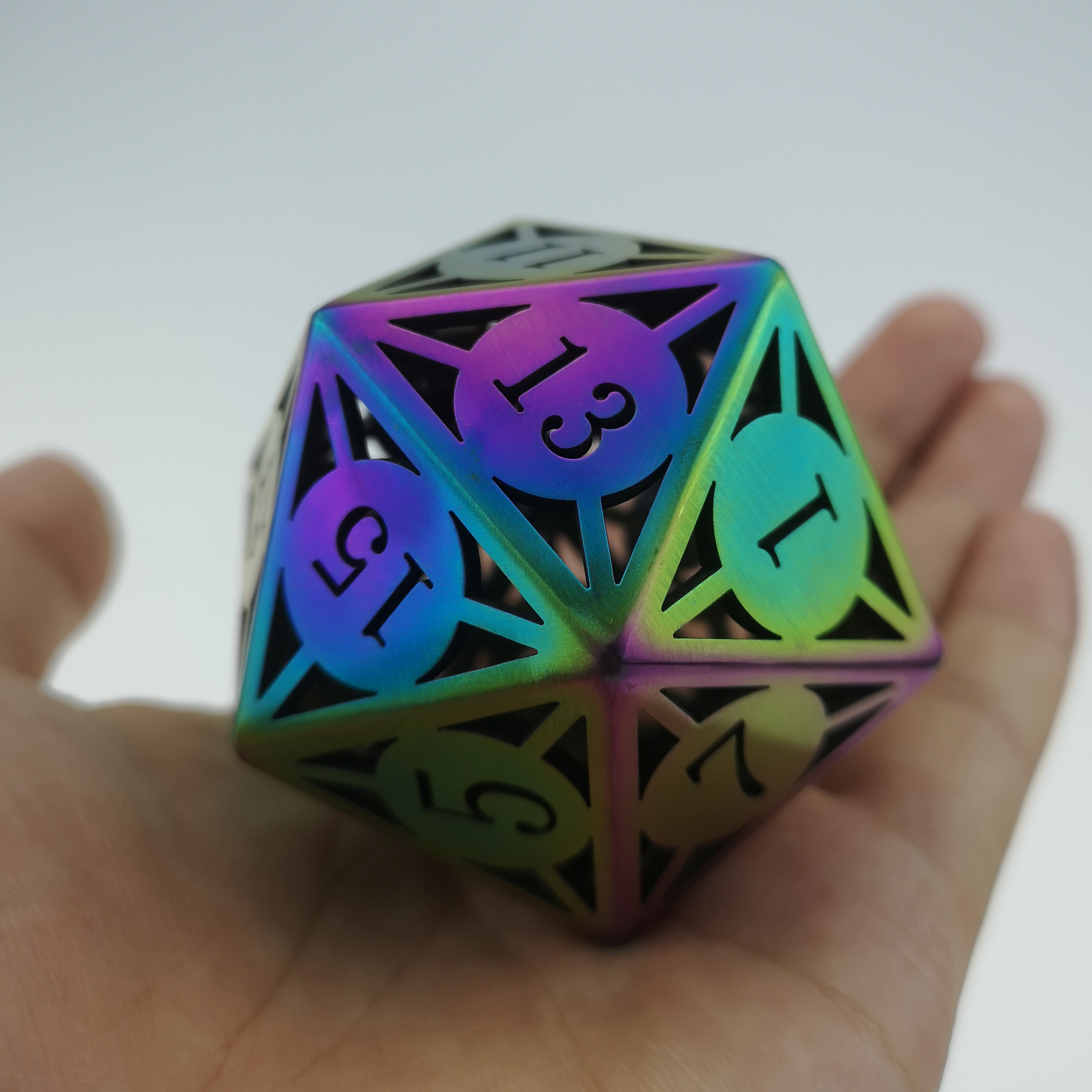 Rollooo Giant Hollow Metal Dice D20 Flame treated Finishing for Roleplaying Games Collection or Gift