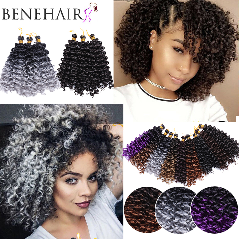SNOILITE Synthetic Curly Braiding Hair Extensions Ombre Crochet Hair Bundles Hair Weave Crochet Hair Fake Hair For Black Women