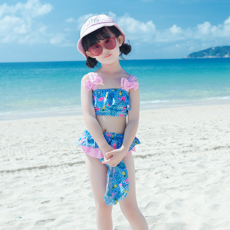 2018 New Style Tour Bathing Suit Korean-style Fashion CHILDREN'S Swimsuit Girls' Two-piece Swimsuit With Swim Cap