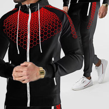 2021 Fashion New Men s Zipper Hooded Sportswear 2 piece Suit   Sweatpants Spring and Autumn Outdoor Suit Can Be Worn Alone M 3XL