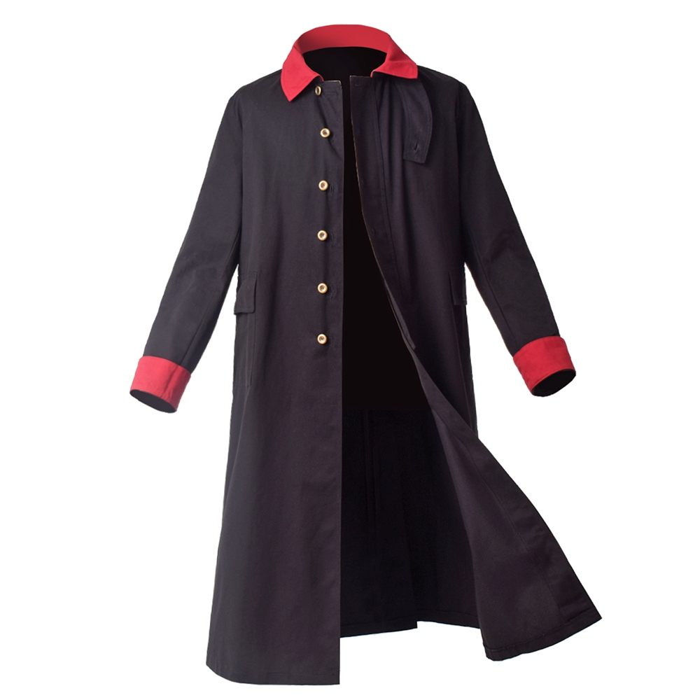 Black Vintage Trench Coat Mens Old West Rangewear Long Sleeve Single Breasted Warlock Outwear