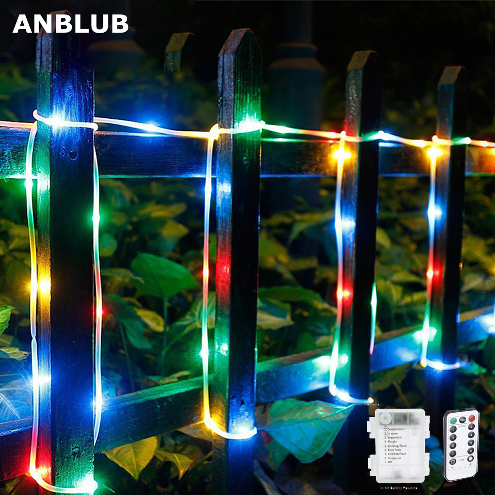 ANBLUB 10M 5M Rope Tube Waterproof RGB LED String Lights Remote Flash Fairy Garland Christmas Wedding Outdoor Garden Decoration
