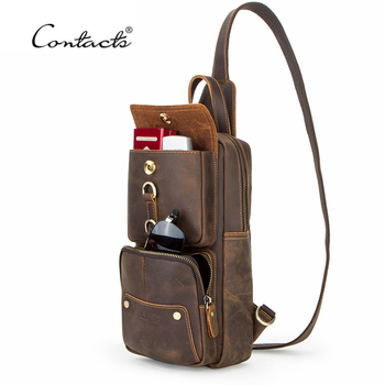 Vintage Crossbody Bags for Men Genuine Leather Chest Pack Male Messenger Bag for 9.7 iPad Single Shoulder Strap men bag genuine leather chest bag famous brand chest shoulder messenger bags casual vintage sling back pack of the