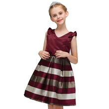 Summer Striped Dress Sleeveless Bow-knot Dress for Girls Formal Wedding Party Dresses Kids Princess Christmas Girls Clothing