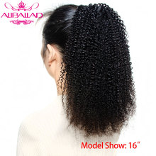 Aliballad-coleta Afro rizada de 12 14 16 pulgadas, cabello humano Remy mongol, coleta con cordón, extensiones de cabello