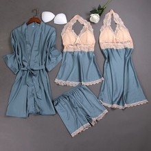 4 Pieces Women Pajamas Sets Satin Sleepwear Silk Nightwear P