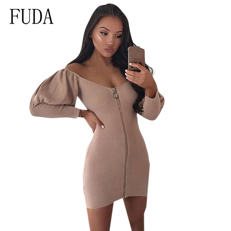 FUDA Sexy Temperament Women Long Sleeve Off Shoulder Mini Bodycon Zipper Dress Ladies Casual Autumn Bandage Solid Party Dress in Dresses from Women 39 s Clothing